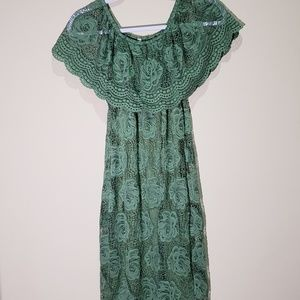 Green Off The Shoulder Lace Dress